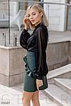 Короткая юбка-трапеция с оборками из эко-кожи зеленая, фото 3
