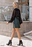 Короткая юбка-трапеция с оборками из эко-кожи зеленая, фото 4