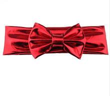 Блестящая красная детская повязка - окружность 38-44см, бант 10см
