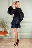 Короткая юбка из эко-кожи с объемными оборками синяя, фото 2