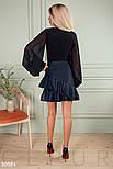 Короткая юбка из эко-кожи с объемными оборками синяя, фото 3