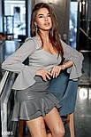 Короткая юбка из эко-кожи с объемными оборками серая, фото 3