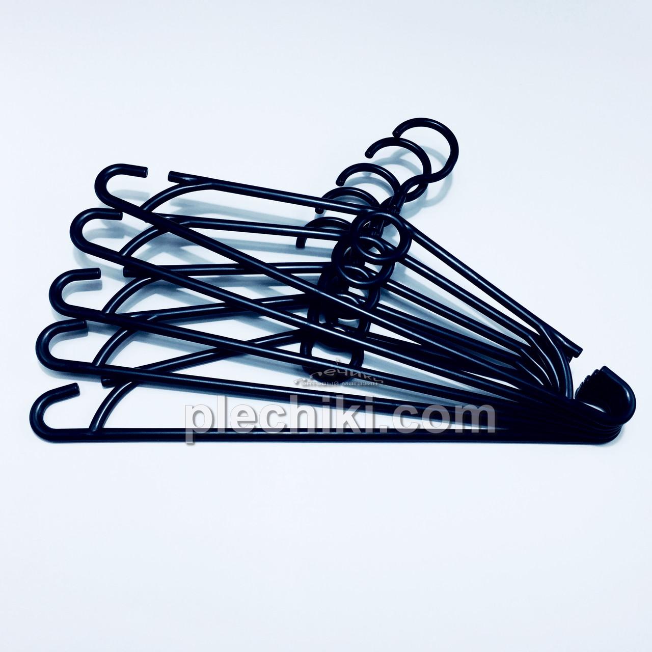 Пластмассовые плечики вешалки тремпеля для одежды W-S40 черного цвета, длина 400 мм