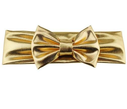 Блестящая золотистая детская повязка - окружность 38-44см, бант 10см