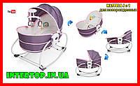 Люлька-качалка Mastela 5 в 1 для новорожденных ,Кресло-качалка баунсер для детей до 5 лет серо-розовый цвет