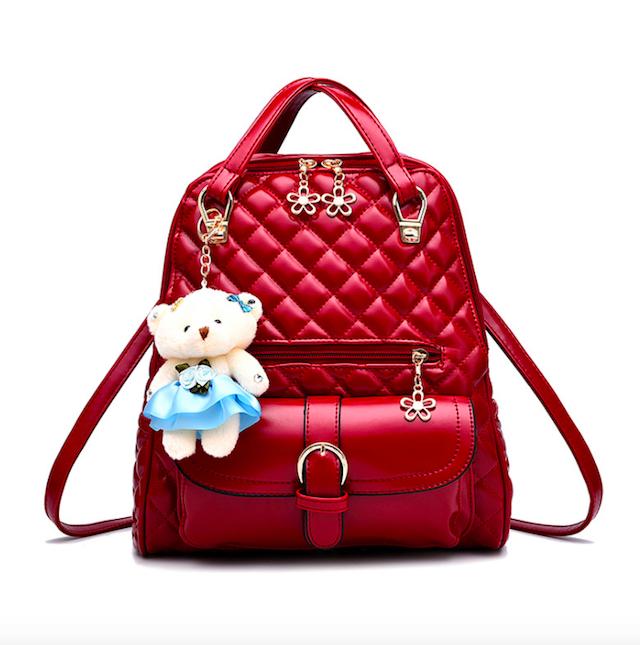Рюкзак женский кожзам Sweet Bear стеганый сумка Красный