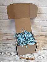 Коробка 150*150*140 мм крафт для подарка с голубым наполнителем , для сувенира, для мыла, косметики