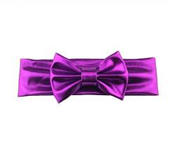 Блестящая фиолетовая детская повязка - окружность 38-44см, бант 10см