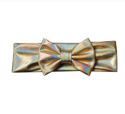 Блестящая золотая детская повязка - окружность 38-44см, бант 10см