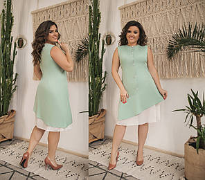 Платье БАТАЛ вставка шифон в расцветках  82583А, фото 2
