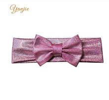 Блестящая светло-розовая детская повязка - окружность 38-44см, бант 10см