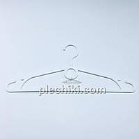 Пластмассовые плечики вешалки тремпеля для одежды W-S40 белого цвета, длина 400 мм