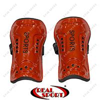 Щитки футбольные Sports FB-2669 (пластик, EVA, L – 18 см, р-р М, красные)