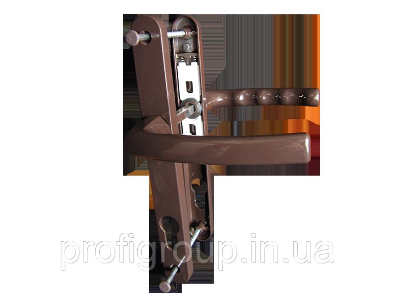 Vorne / Нажимной гарнитур VORNE 28/92/200 з пружиной коричневый для ПВХ дверей (дверная нажимная ручка)