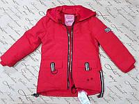 Демисезонная куртка парка для девочки с лампасами 5 лет