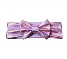 Блестящая розовая детская повязка - окружность 38-44см, бант 10см