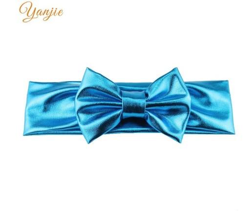 Блестящая голубая детская повязка - окружность 38-44см, бант 10см