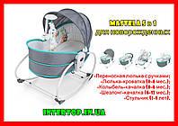Люлька-качалка Mastela 5 в 1 для новорожденных ,Кресло-качалка баунсер для детей до 5 лет 6037серо-голубой