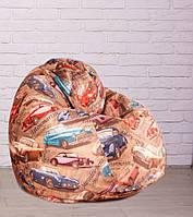 Кресло Груша большая XXL флок Машинки, 2 цвета