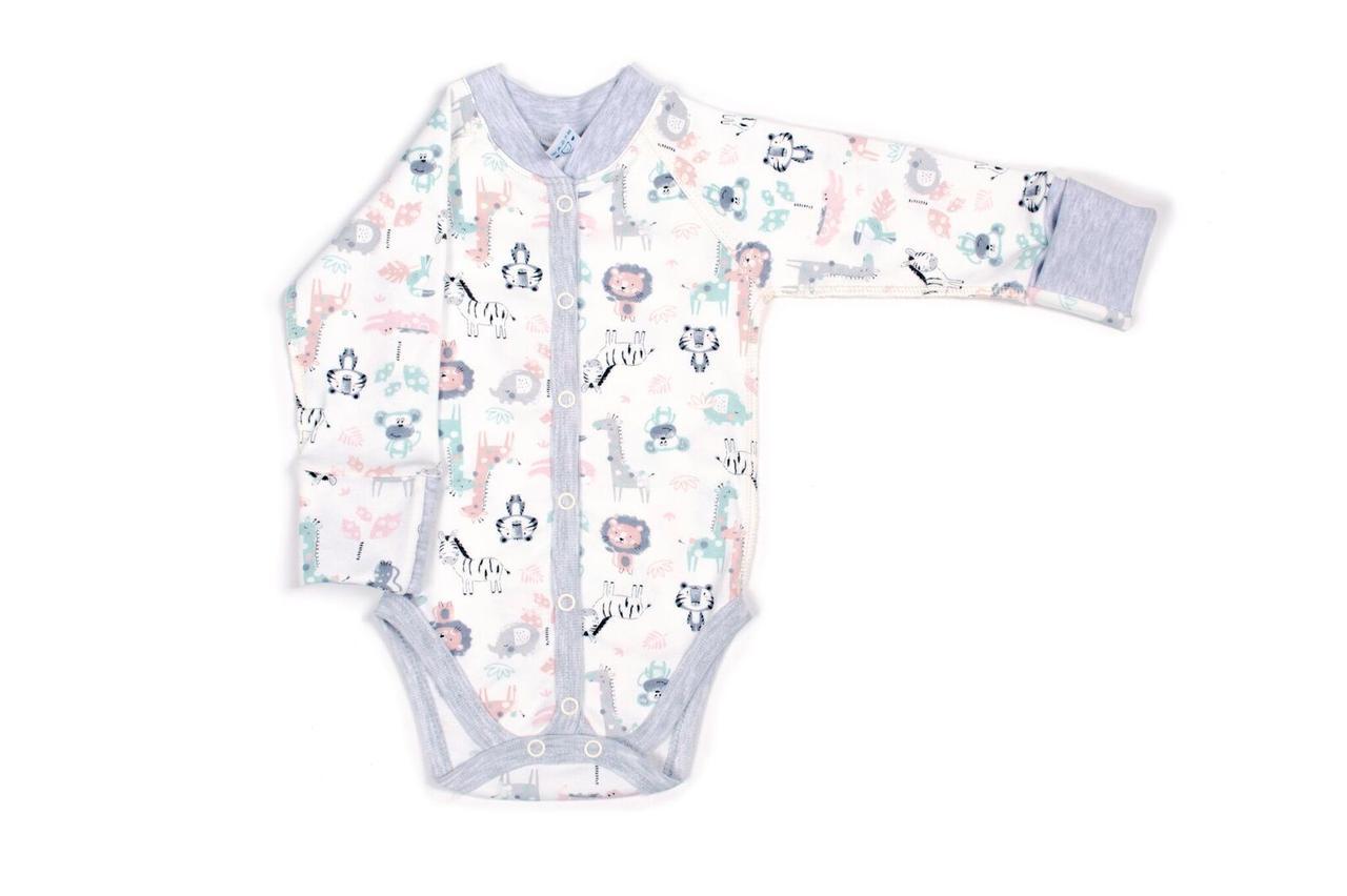 Боди для новорожденных Верес Crazy Zoo mint интерлок 56 молочный