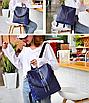 Рюкзак женский кожзам трансформер Braided сумка Синий, фото 2