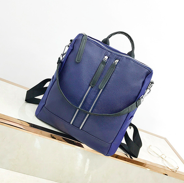 Рюкзак женский кожзам трансформер Braided сумка Синий