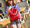 Рюкзак женский кожзам трансформер Braided сумка Красный, фото 3
