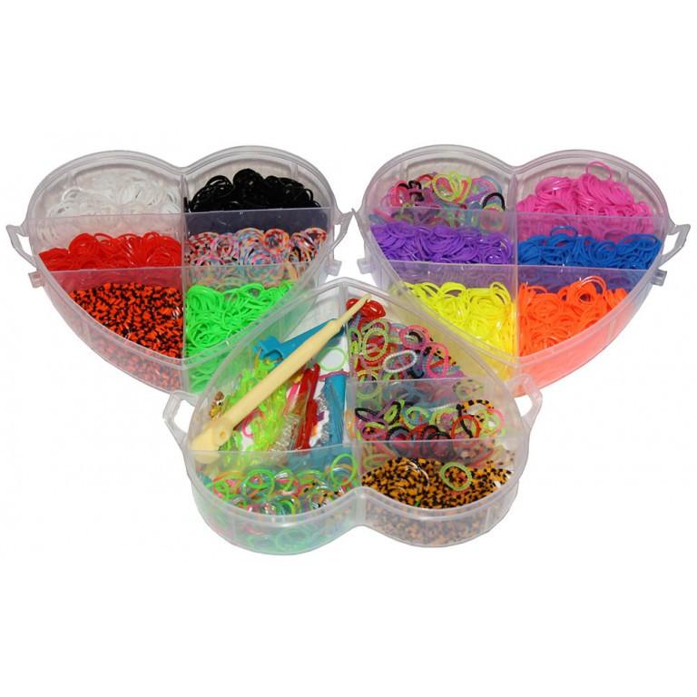 """Набор для плетения Rainbow Loom Bands """"Сердце"""" 4200 резиночек трехъярусный."""