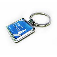 Брелок для ключей металлический квадратный с логотипом
