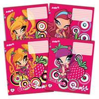 Тетрадь школьная 12 листов линия  Pop Pixie(Поп Пикси) PP14-234K, Kite, глиттер