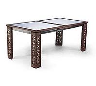 Стол раскладной Эйфель с тонированным стеклом Коричневый (Pradex ТМ)