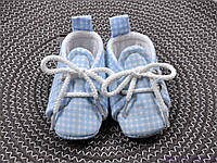 Пинетки для новорожденных, голубая клетка из хлопка, фото 1