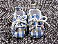 Пинетки для мальчика хлопковые, сине-песочная клетка, фото 1