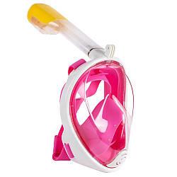 Полнолицевая панорамная маска для плавания FREE BREATH (S/M) M2068G Pink с креплением для камеры