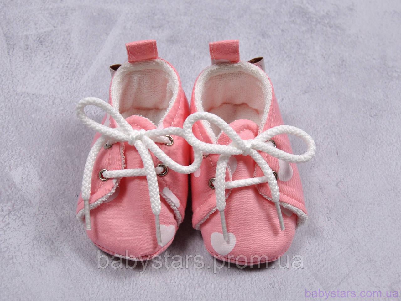 Пинетки для новорожденной девочки из хлопка, сердечки