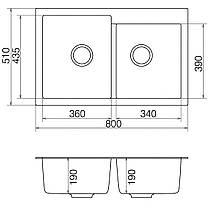 Кухонная мойка кварц 51*80 см VANKOR Orman OMP 05.80 Black, фото 2