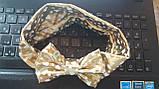 Блестящая под золото детская повязка - окружность 38-44см, бант 10см, фото 2