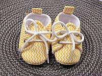 Красивые пинетки для малыша из льна, желтый зигзаг, фото 1
