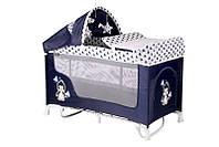 Манеж-кровать Lorelli SAN REMO 2 rocker blue&white penguin, фото 1