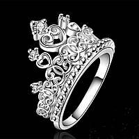 Кольцо Корона сердечки покрытие 925 серебро проба фианиты