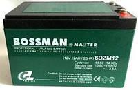Аккумулятор тяговый 12V 12Ah Bossman 6-DZM-12 клеммы под пайку, 10x10x15см