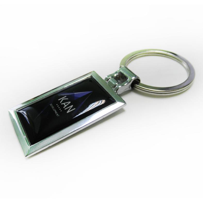 Брелок для ключей металлический прямоугольный с логотипом
