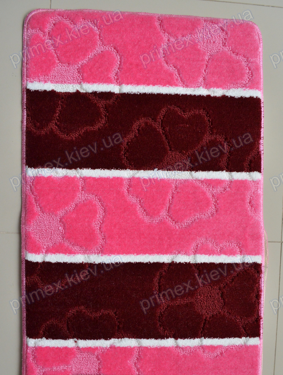 """Набор ковриков для ванной, 60х100 + 60х50см. """"Цветочные сердечки"""", цвет розовый"""