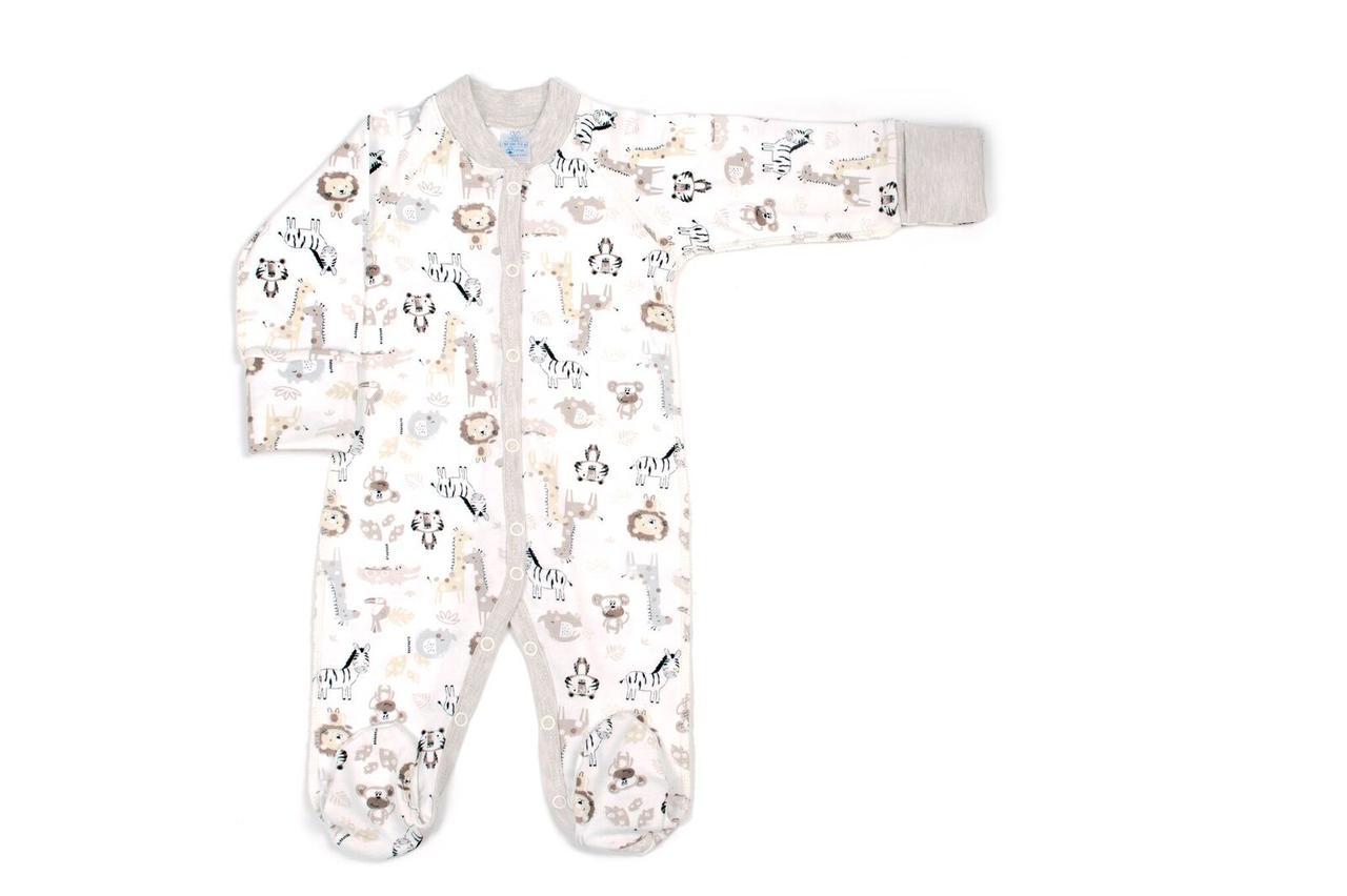 Комбинезон для новорожденных Верес Crazy Zoo beige интерлок 56 молочный