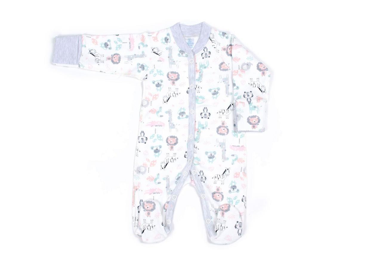 Комбинезон для новорожденных Верес Crazy Zoo mint интерлок молочный