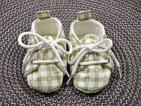 Пинетки детские из хлопка, Зеленая клетка, фото 1