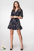 02295a21eda575b Принтованное платье с рюшами и коротким рукавом - фонариком 72py2957