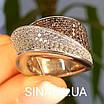 Модное кольцо Waves - Брендовое серебряное кольцо с коньячными фианитами, фото 9