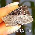 Модное кольцо Waves - Брендовое серебряное кольцо с коньячными фианитами, фото 8