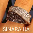 Модное кольцо Waves - Брендовое серебряное кольцо с коньячными фианитами, фото 5